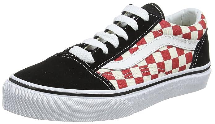 Vans Old Skool Sneaker Unisex-Kinder Rot-Weiß Kariert/Schwarz