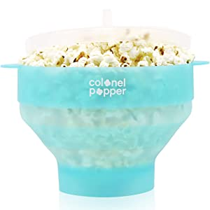 Colonel Popper Popcorn Popper Microwave Popcorn Maker Silicone Air Popper (Fresh Mint)