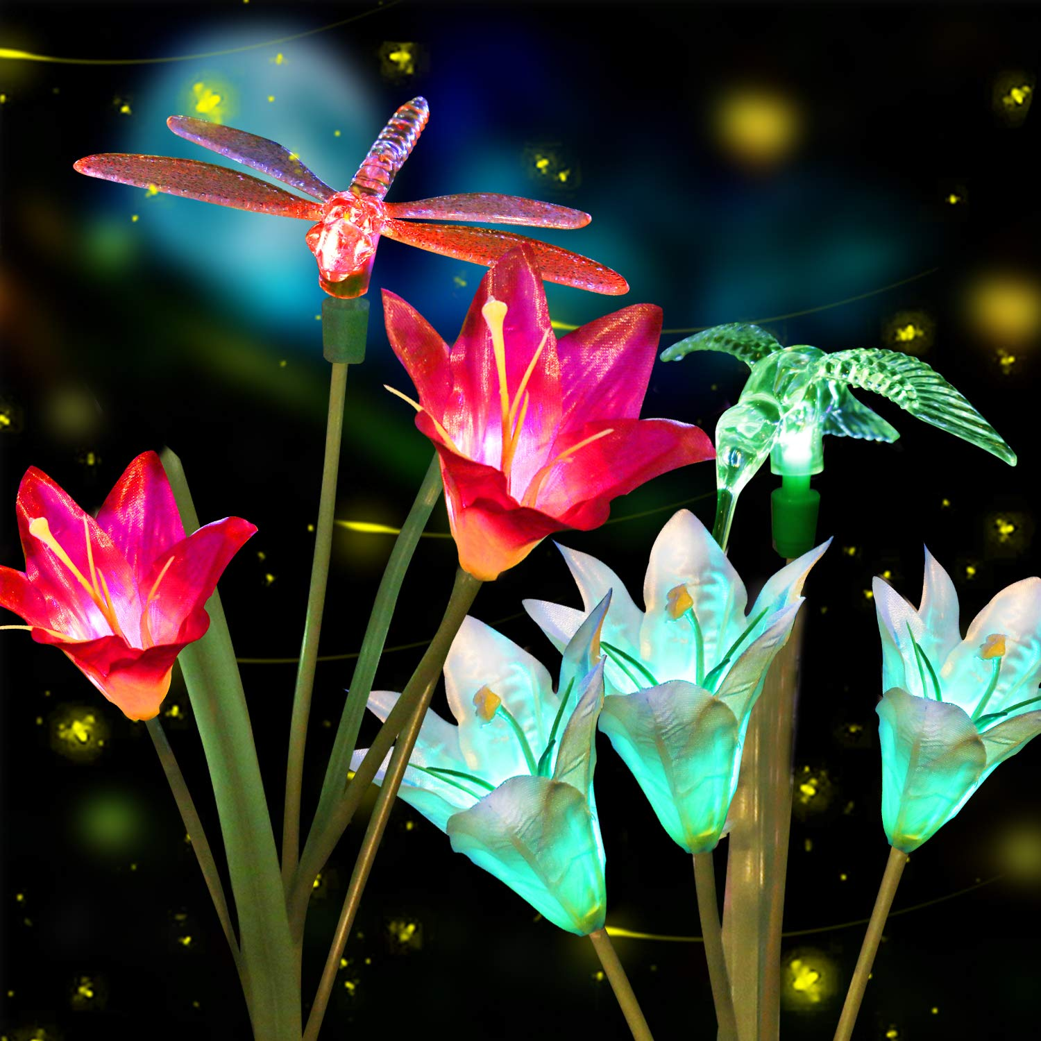 Anpro Outdoor Solar LED Flower Garden Light, Garden Decor with 6 Lily Flower and Butterflies Combination Decorative Lights Multi-Color Changing LED Solar Stake Lights for Garden, Patio, Backyard