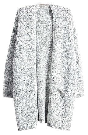fdd8f598291112 Cardigan Sweater Damen Pullover Lange Longpullover Grau Grauer Pullover  Winterjacke Strickpullover Frauen Winterpullover Mantel Winter Herbst:  Amazon.de: ...