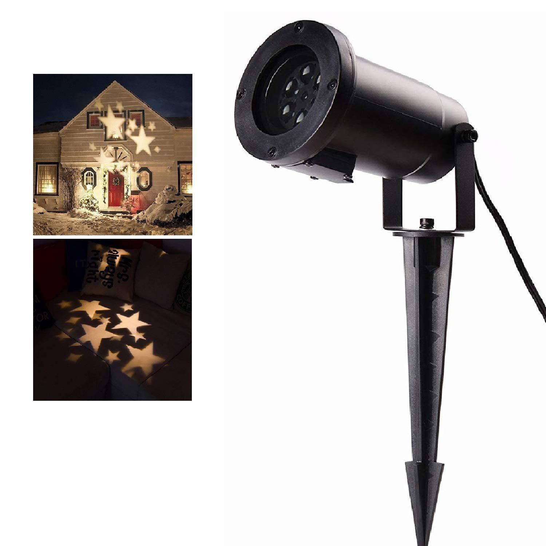 Salcar LED Effektlicht Partylicht mit Warmweiß en Sternen, Dynamische Motive, Gartenleuchte LED Sternenhimmel Projektor Weihnachten Mauer Dekoration, Gartenlicht fü r Festen, Weihnachten, Karneval
