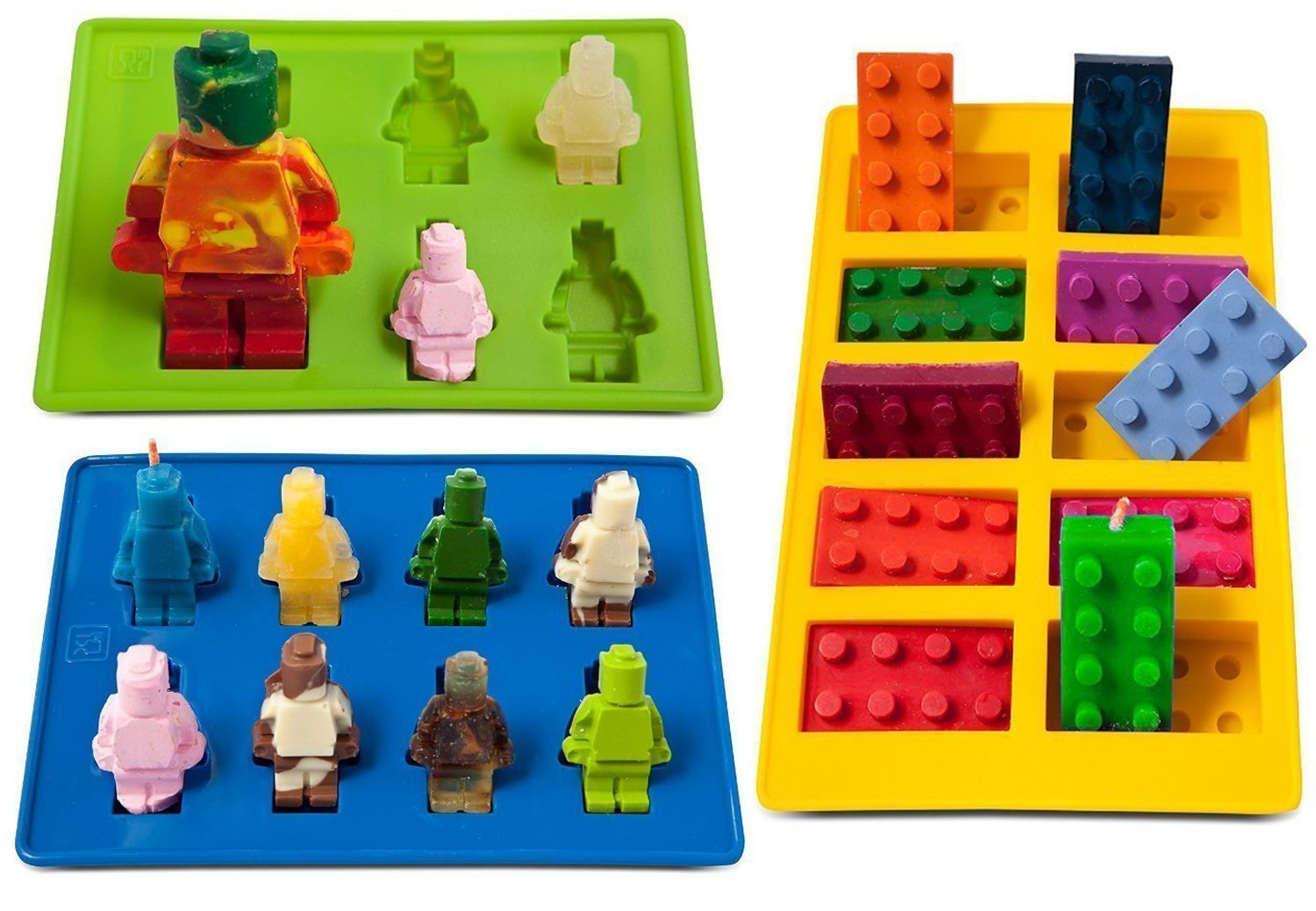 Building Brick & Blue & Green Multi-size Minifigure Silicone Ice Tray Candy Mold Set
