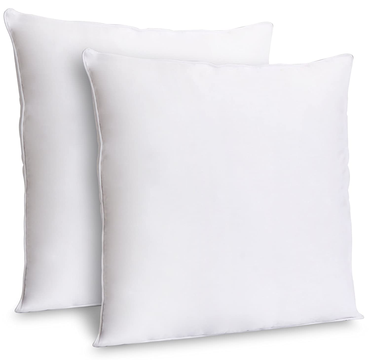 Zoyer Decorative Throw Pillow Inserts (2 Pack, White) - Square Indoor Sofa Pillows - Premium Poly Cotton Cover (16x16 Inch) ZB0123