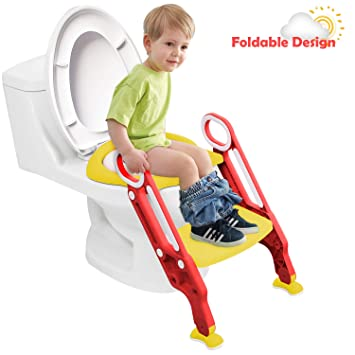 GrowthPic Potty Training Seat Toddler Toilet Seat Potty Ladder Potty Chair with Splash Guard for Kids Green Non-Slip pedal and Soft Cushion