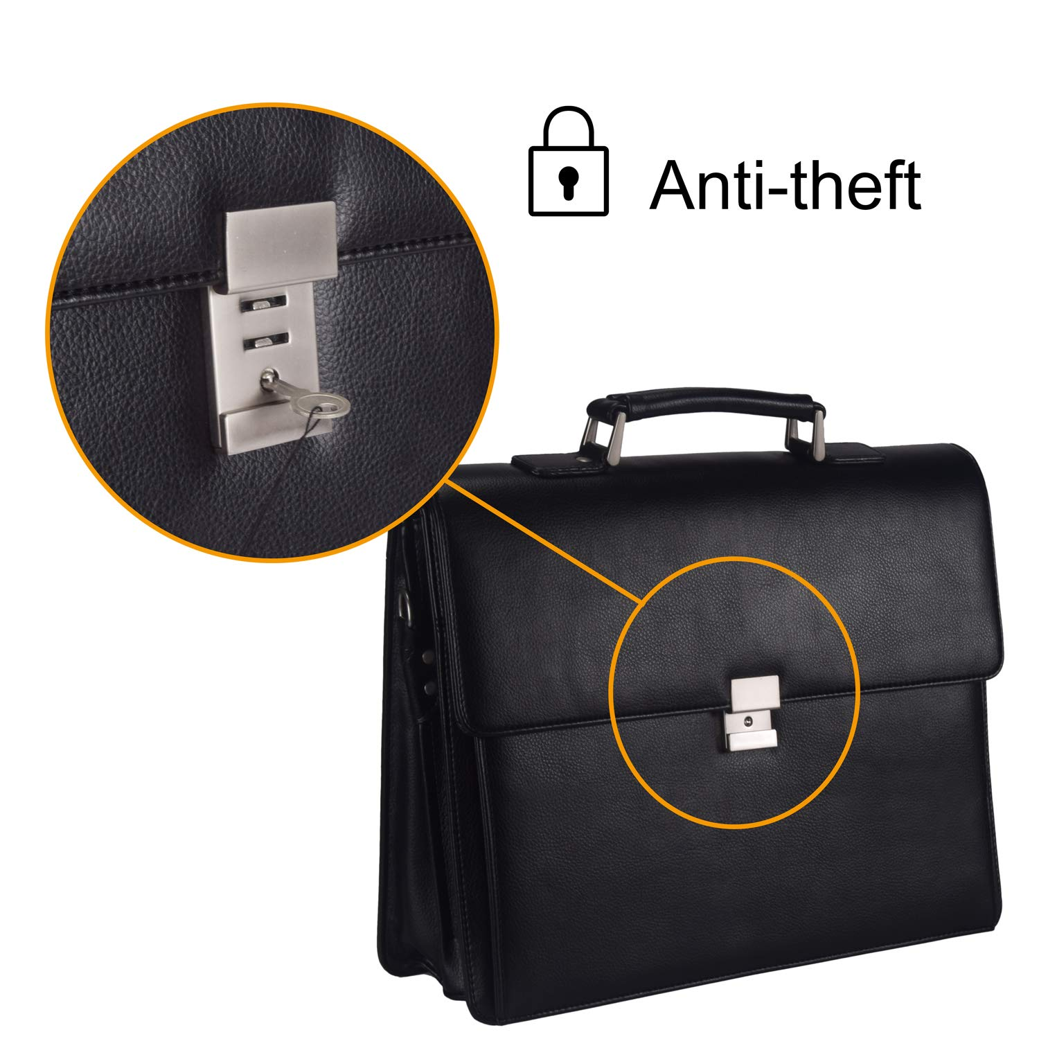 ?ON SALE?Mens Leather Business Briefcases Expandable Lawyer Attache Case with Locks 15.6