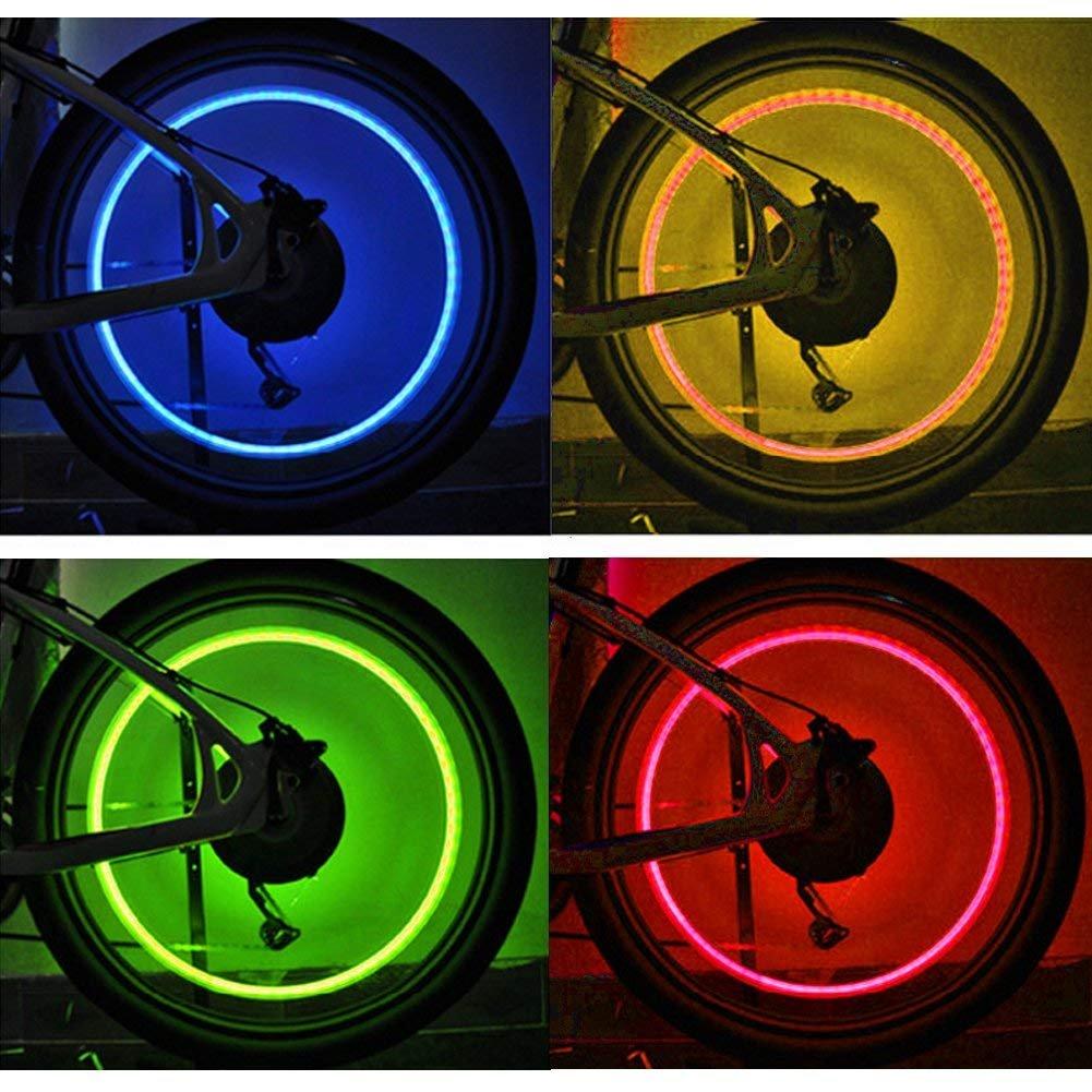 Vimmor 4/Pcs Color/é V/élo LED Feux de Roue Valve Lampe Valve Core Light pour V/élo de Montagne Bycicle