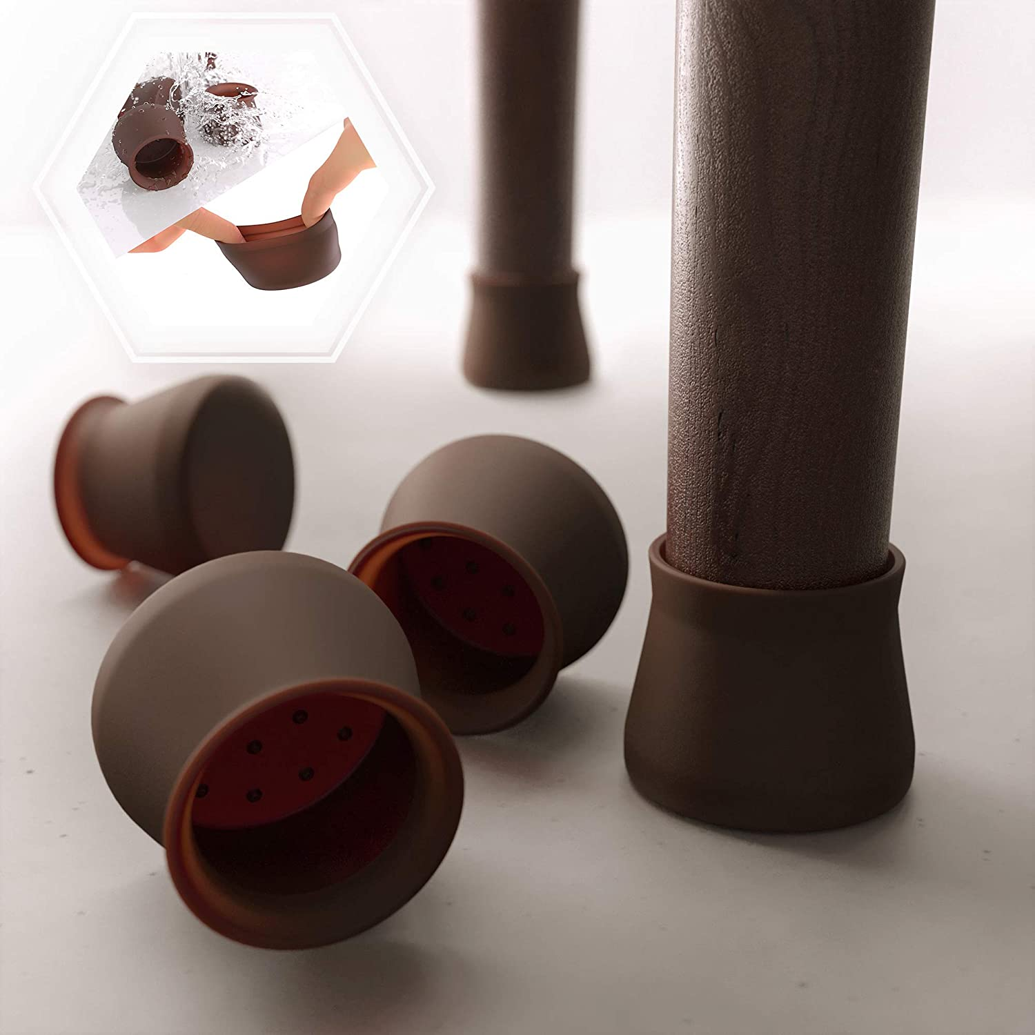 16 PCS Dark Walnut Color Silicone Chair Leg Floor Protectors – Anti-Slip Furniture Silicon Protection Cover - Silicone Furniture Leg Caps. Protect Furniture & Floors from Scratches and Noise.
