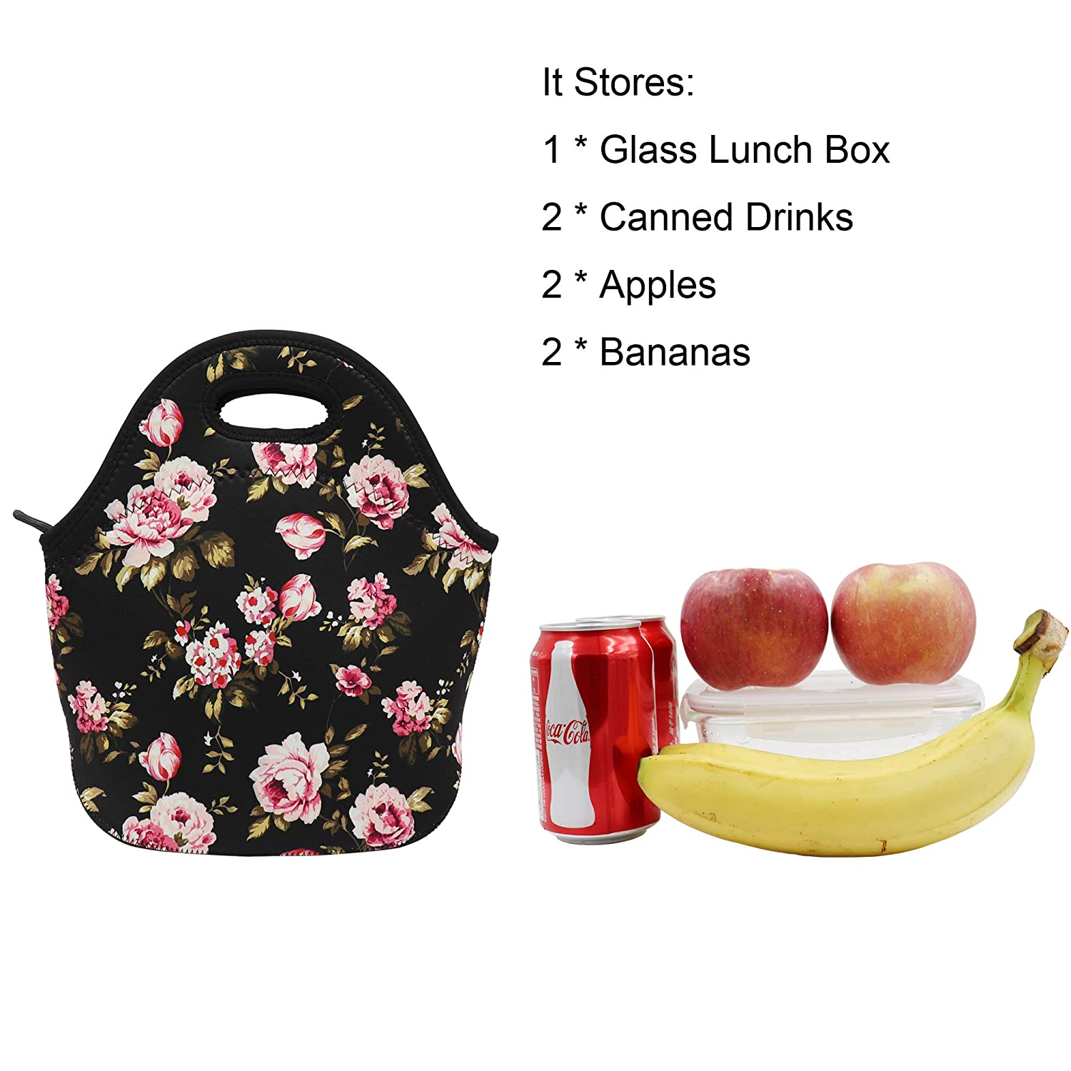 2fa9256ecd Amazon.com  Flowers Neoprene Lunch Bag Insulated Lunch Box Tote for Women  Men Adult Kids Teens Boys Teenage Girls Toddler