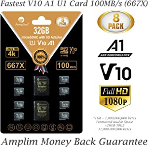 8-Pack Bulk 32GB Micro SDHC Memory Card Plus Adapter – Amplim 32 GB Class 10 Micro SD Card V10 A1. Extreme High Speed 100MB/s 667X microSDHC TF Card. Cell-Phones Tablets Fire Cameras Nintendo Drones