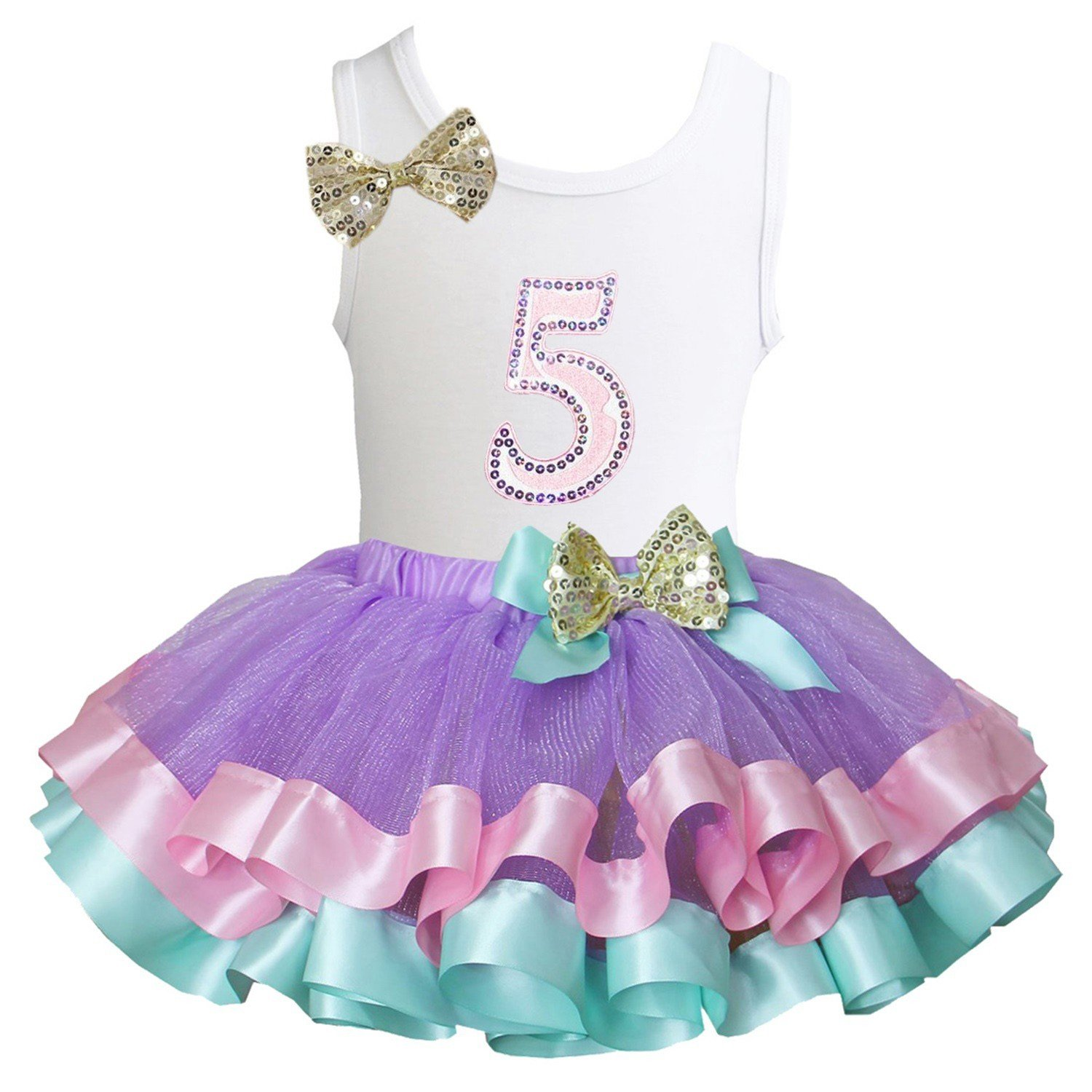 Kirei Sui Lavender Pink Mint Satin Trimmed Tutu Birthday Tank Top Dress DGDB1TST4A68G
