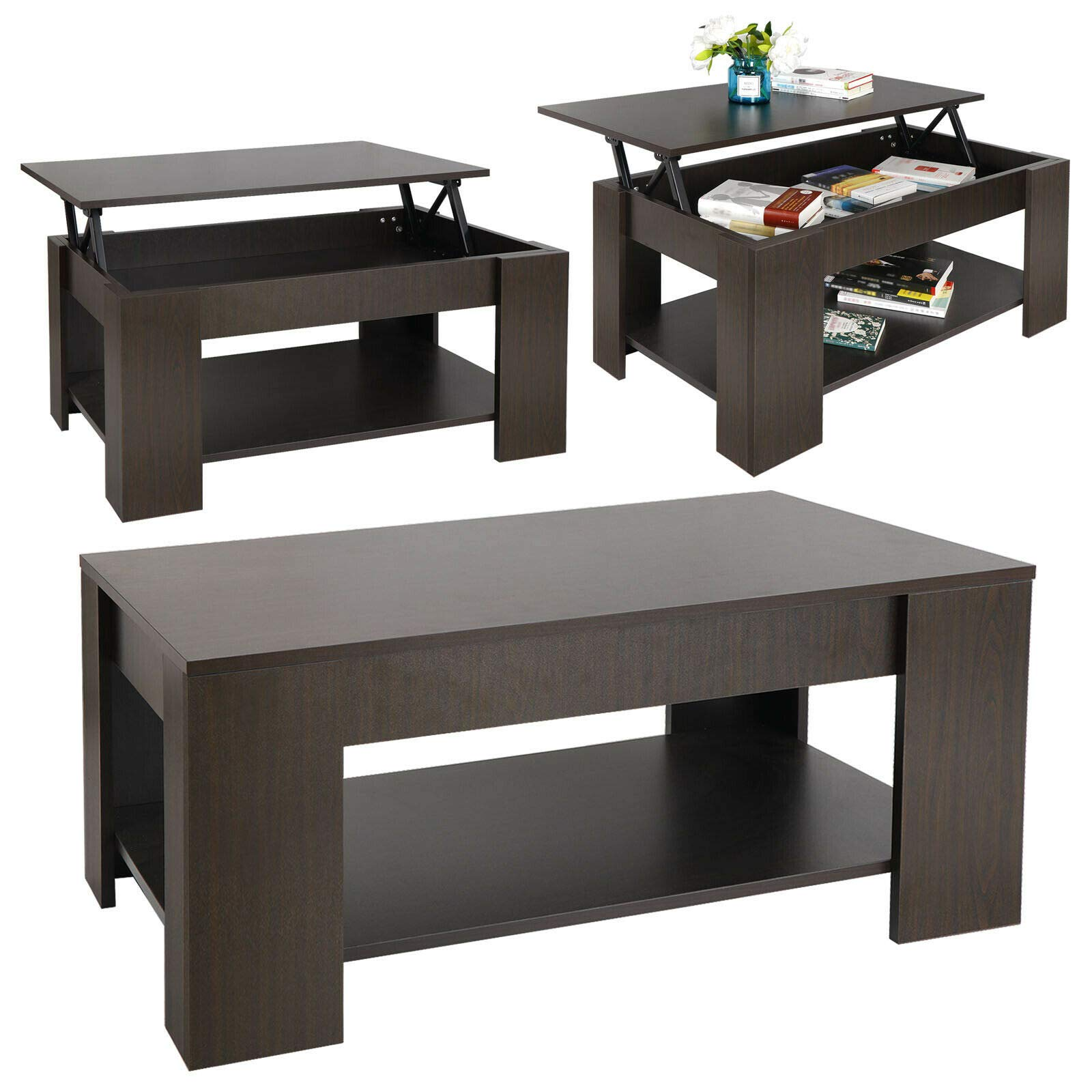 SD Life Premium Quality Coffee Table Lift Top with Hidden Compartment Storage Shelf Modern Home Furniture by SD Life