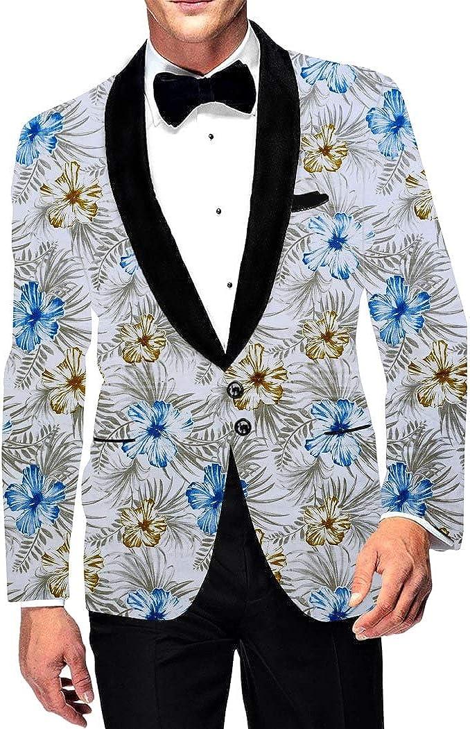 INMONARCH Mens Printed Polyester Suede White Shawl Collar Two Button Slim fit Blazer Sport Jacket Coat SB19372