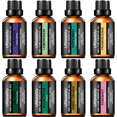 URbeauty Essential Oils Top 8 Aromatherapy Essential Oils 100% Pure Therapeutic Grade Essential Oils Set Lavender/Peppermint/Tea Tree/Orange/Eucalyptus/Lemongrass/Frankincense/Rosemary