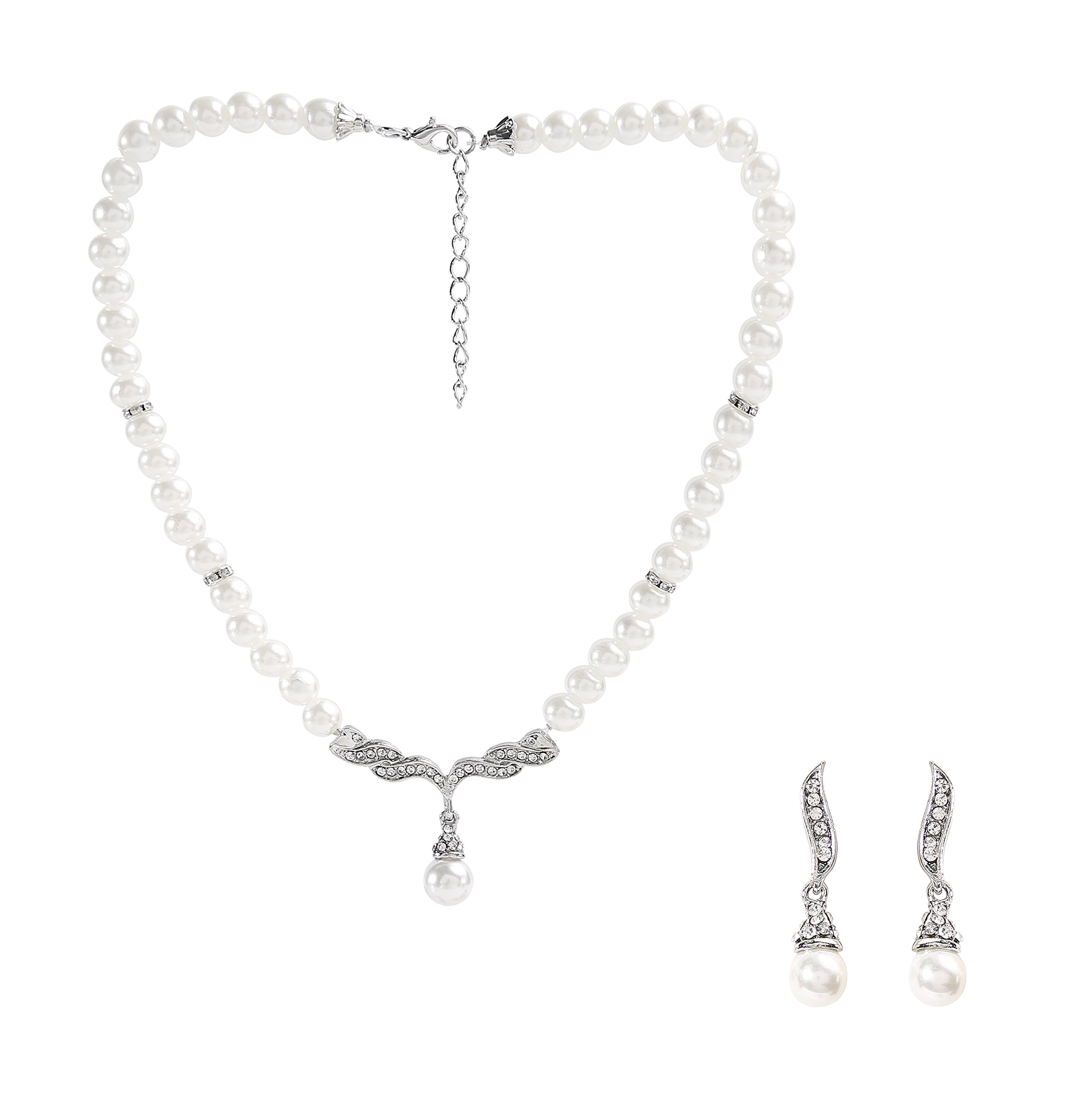 Metme 1920s Pearls Rhinestone Necklace Earrings Accessories Set Great Gatsby Party Jewelry