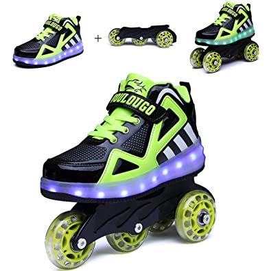 ca8fe8ffa4b Ufatansy Unisex Kids Light up Charge Shoes Roller Inline Skate Removable  Become Sport Sneaker Led Shoes
