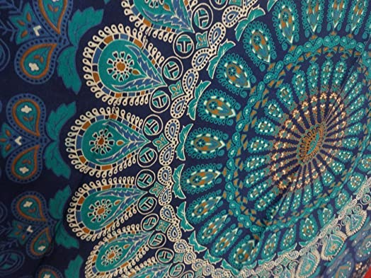 Tapestry Wall Hanging, Mandala Tapestries, Indian Cotton Bedspread, Blue Color Theme, Picnic Blanket, Wall Art, Hippie Tapestry, 140 x 220 Cms