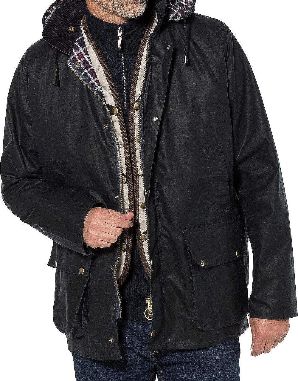 48-61 Royal Spencer Herren Wachsjacke stilvolle Wind- und Regenjacke Outdoorjacke mit vielen Taschen /& Abnehmbarer Kapuze Gr