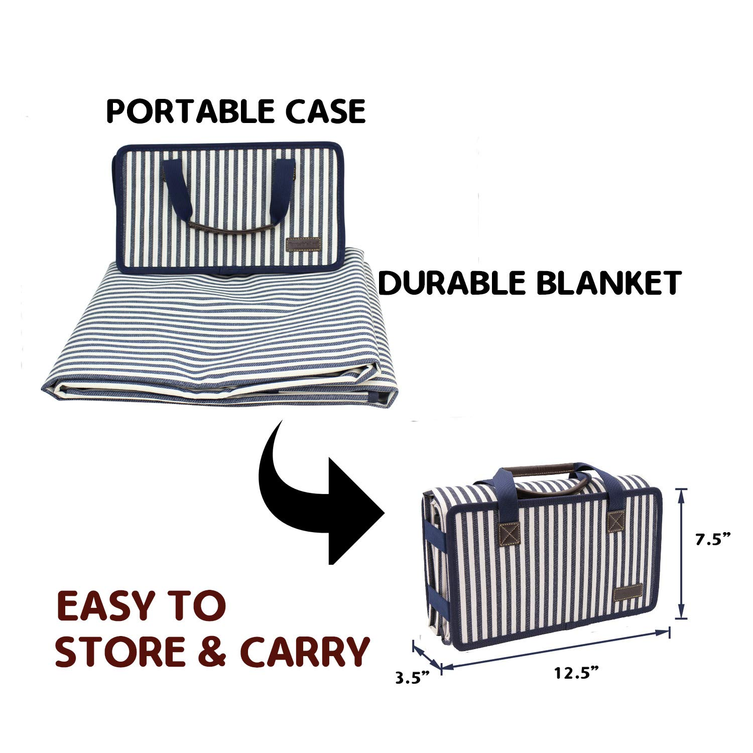 Black and White Striped PortableAnd Extra Large Picnic /& Outdoor Blanket for Water-Resistant Handy Mat Tote Spring Summer Great for the Beach,Camping on Grass Waterproof Sandproof