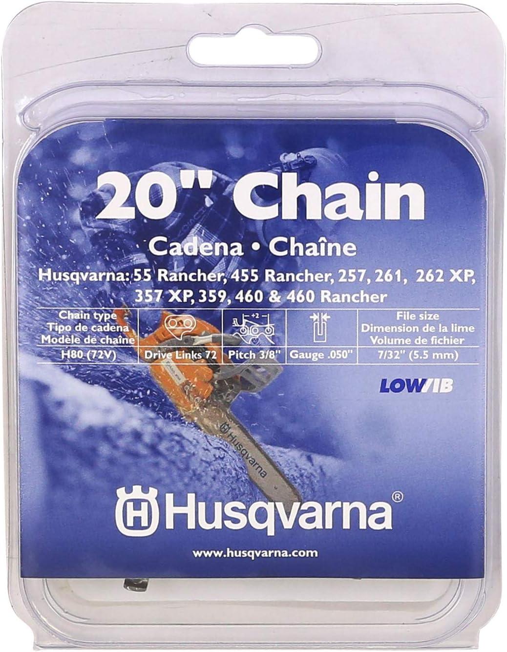 Husqvarna 531300441 20-pulgadas H80-72 (72V) cadena de sierra, 3/8-pulgadas por .050-pulgadas