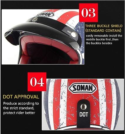 f/ür Cruiser Chopper Biker Lucky Skull M54~62cm DOT Zertifizierung Open Face Halbes Helm Roller ZLYJ Retro Motorradhelm,Vintage Halbschalenhelm Motorrad