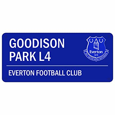 8eb7370bd70 Everton FC Official Goodison Park L4 Metal Street Sign (One Size) (Blue):  Amazon.co.uk: Clothing