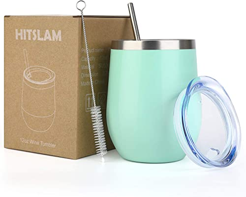 HITSLAM Wine Tumbler 12oz Stainless Steel Tumbler Vacuum Insulated Wine Glass Double Wall Coffee Mug for Champaign