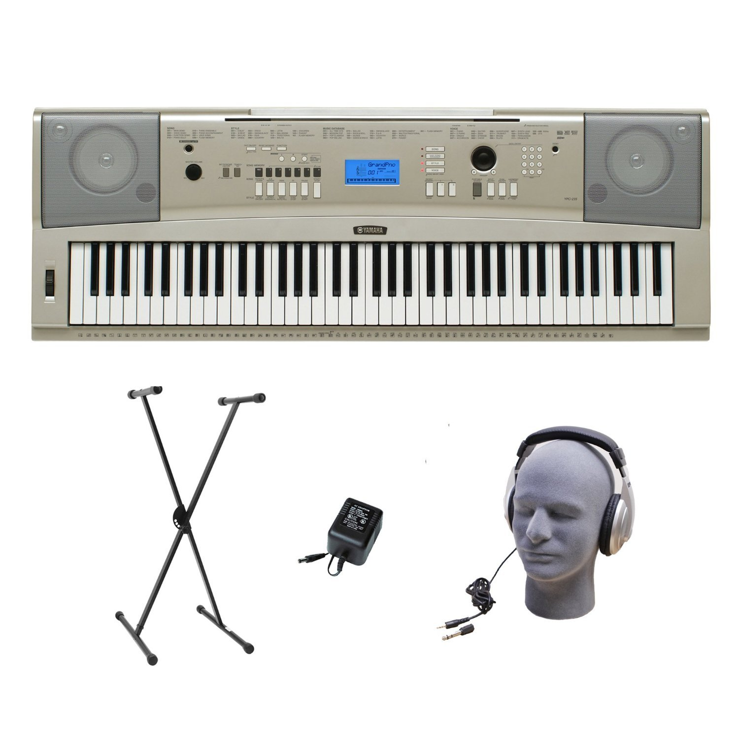 Yamaha YPG-235 76-Key Portable Grand Piano Premium Pack with Headphones, Power Supply, and Standard X-Style Keyboard Stand