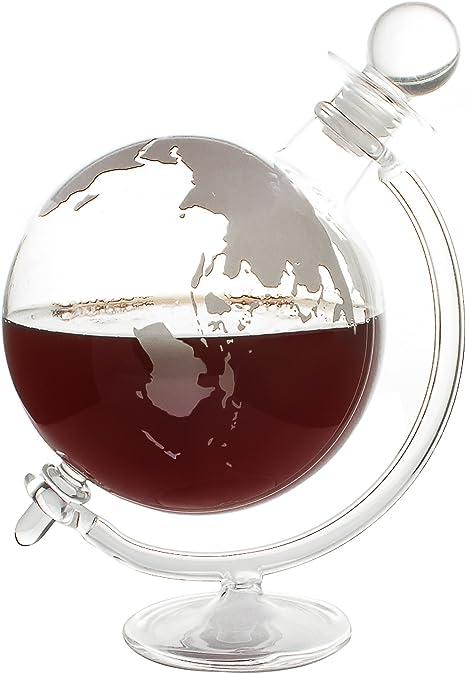 CKB Ltd® globo decantador con soporte & Vidrio Corcho lid- soplado a mano – Ideal para Vodka Whisky, Scotch, Ron Tequila y más – con capacidad para ...