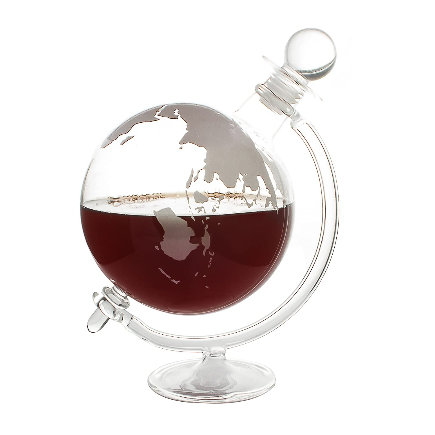 CKB Ltd® GLOBE DECANTER With Cradle Holder & Glass Cork Lid- Hand Blown - Ideal For Vodka Whiskey, Scotch, Rum Tequila & More - Holds Up To 750ml