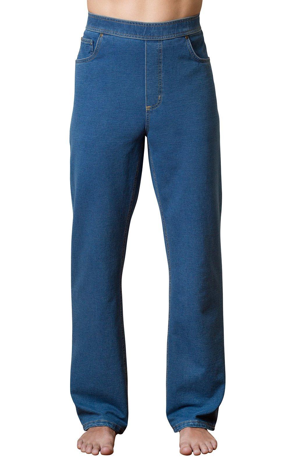 PajamaJeans Men's Straight Leg Knit Denim Jeans in Blue, Pacific Wash, Large