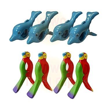 Wiwo 4 pares de toalla Clips – 2 x delfín & 2 x rojo Parrot