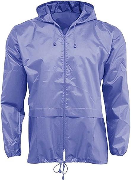 Style It Up Unisex Plain Rain Coat Mac Kagoul Jacket Water Proof Hooded Cagoul Adults Pac UK