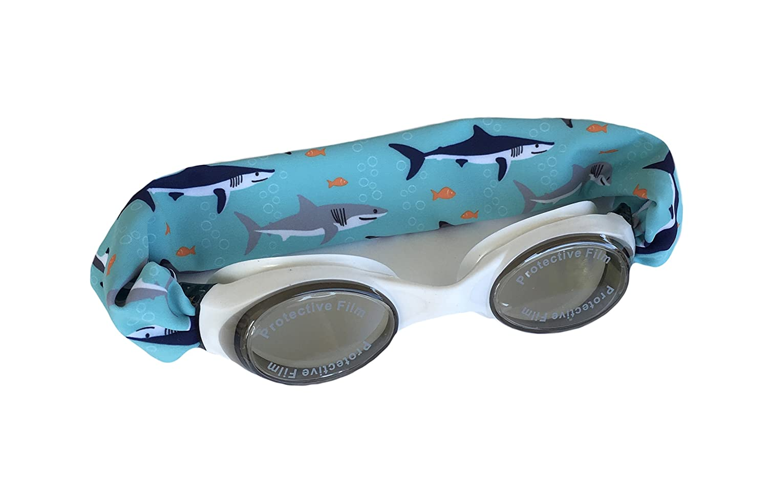 """SPLASH """"SHARK ATTACK"""" Swim Goggles - Fun Fashionable Comfortable - Fits Kids & Adults - Won't Pull Your Hair - Easy to Use - High Visibility Anti-Fog Lenses - PATENT PENDING"""