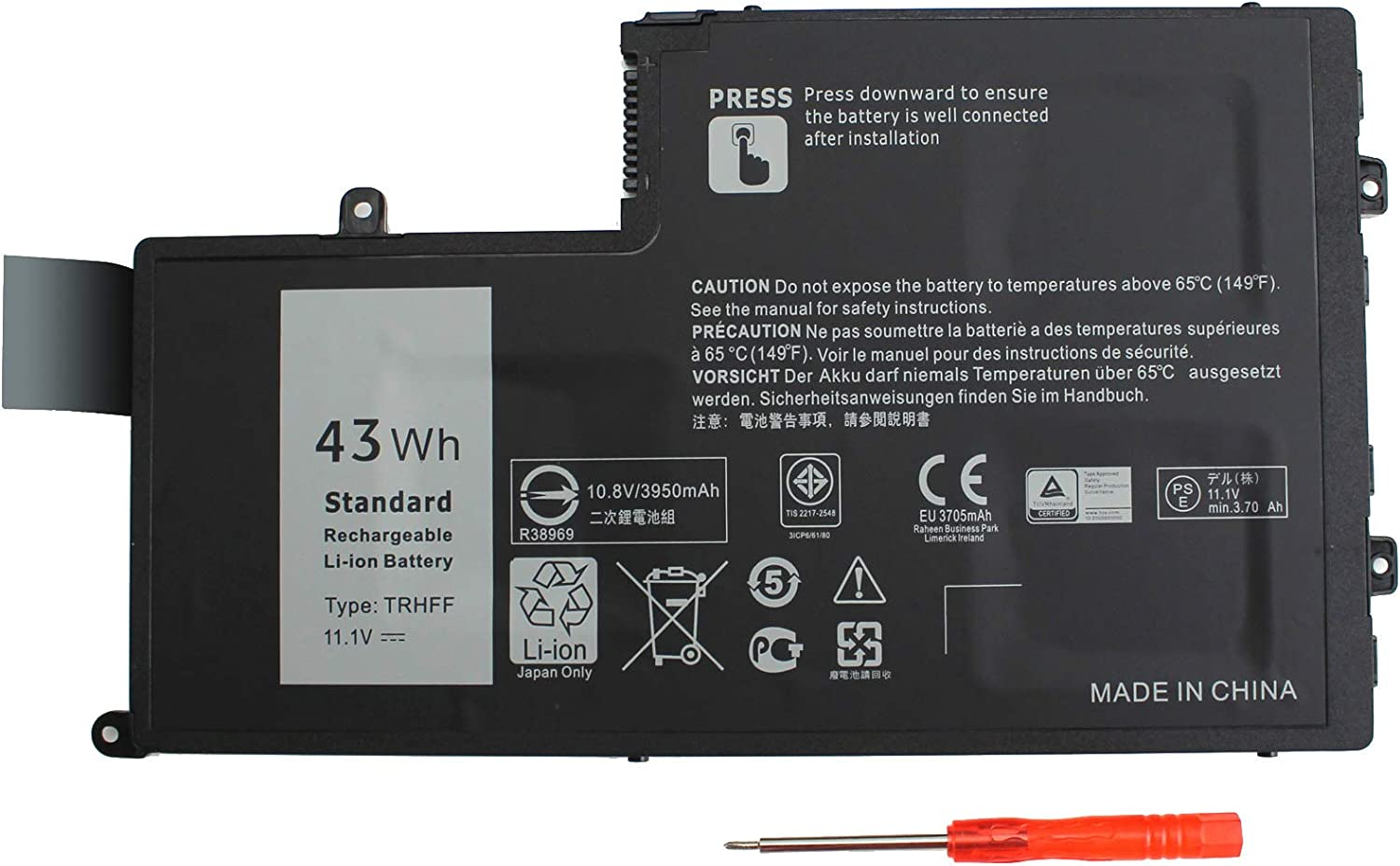 43WH TRHFF Notebook Battery Compatible Dell Inspiron 5445 5447 5545 5547 5548 N5447 N5547 15-5000 Series I5547-3750SLV Latitude 14 3450 15 3550 1V2F6 01V2F6 0PD19 1WWHW Laptop Batteries