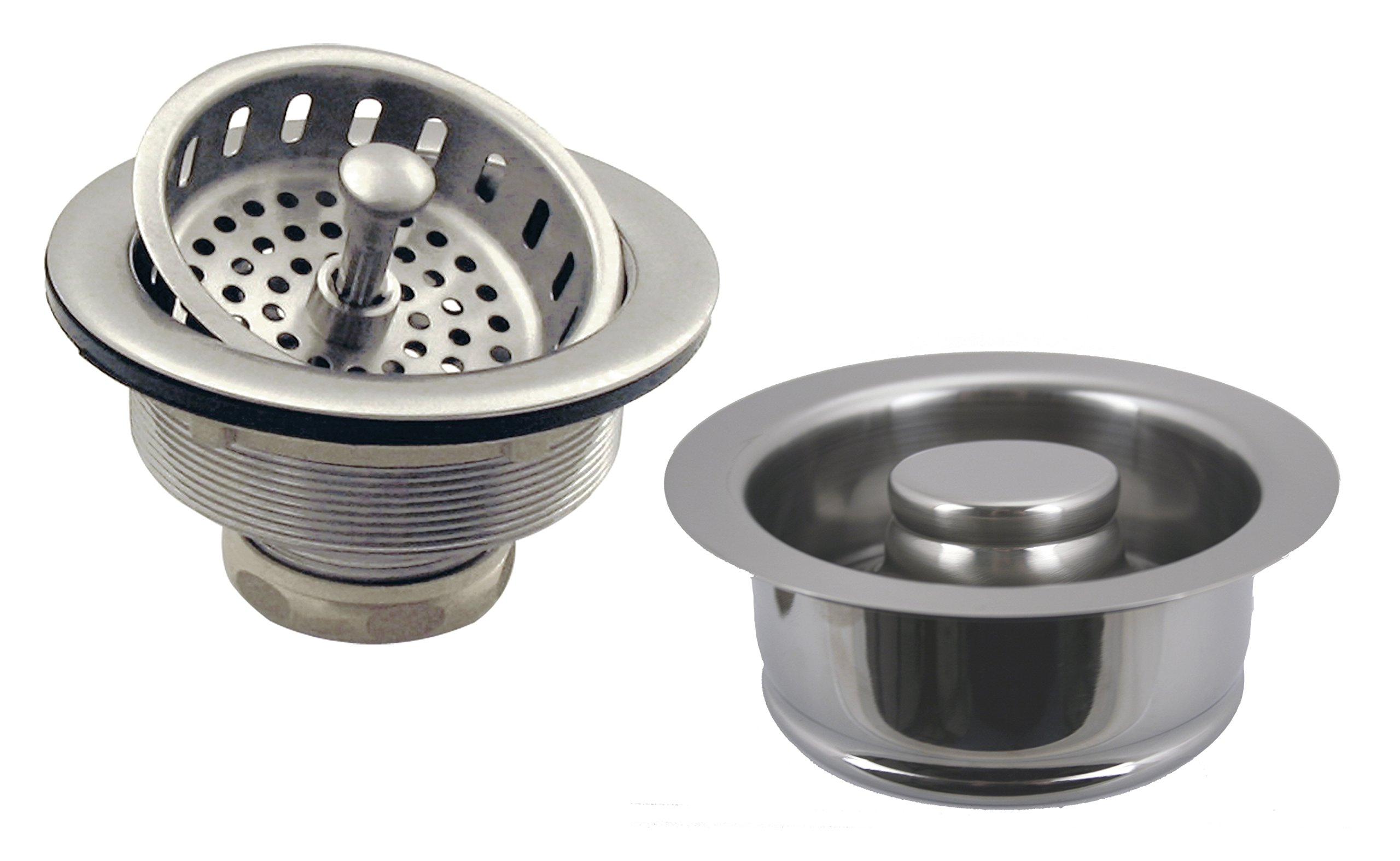 Westbrass Post Style Large Kitchen Basket Strainer with InSinkErator Style Disposal Flange and Stopper, Satin Nickel, D2165-07