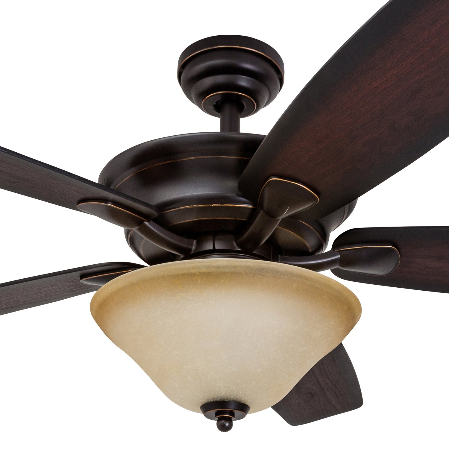 Rustic Style Cabin Inspired Dark Elm//Chestnut Blades Matte Black Faux Leather Lamp Shades Prominence Home 41110-01 Almer Point 52 Lodge Ceiling Fan with 3-Light