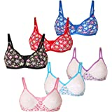 Lime Women's Multi-Color Full Coverage Soft & Comfort Cotton Non-Detachable Straps Bra Pack of 6