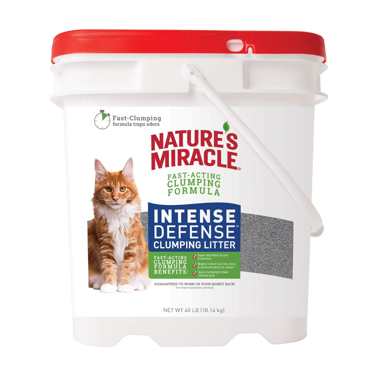 Nature's Miracle P-98134 Intense Defense Clumping Litter, 40 Pounds, Pail, Super Absorbent Fast-Clumping Formula, Dust Free by Nature's Miracle