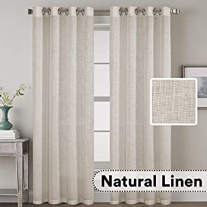 "H.VERSAILTEX Elegant Natural Linen Blended Energy Efficient Light Filtering Curtains/Angora Nickel Grommet Curtains Window Treatments Panels/Drapes for Livingroom (Set of 2, 52"" x 96"")"