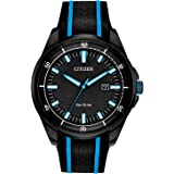Citizen Eco-Drive Weekender Quartz Mens Watch, Stainless Steel with Silicone strap, Black (Model: AW1605-09E)