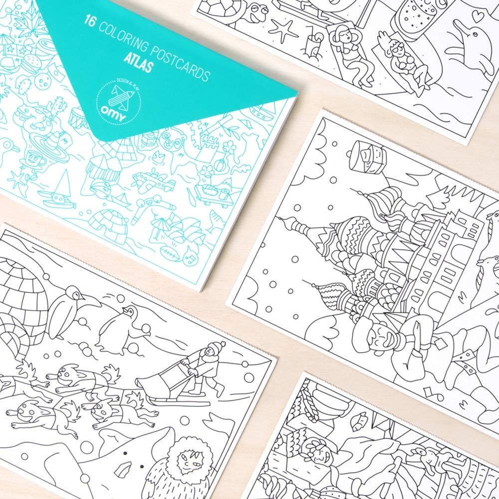 OMY Box of 16 Atlas Postcards