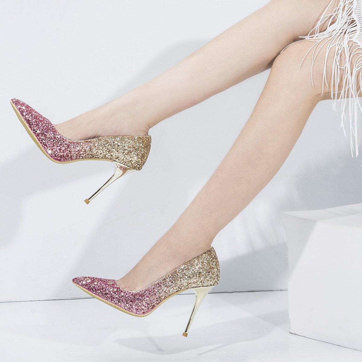 Damenschuhe Heels Damen Herbst High Heels Pailletten Stöckelschuhe Schuhe Silber Heels Damenschuhe Etikette Hochzeitsschuhe Purplegold(8cm) 92598e