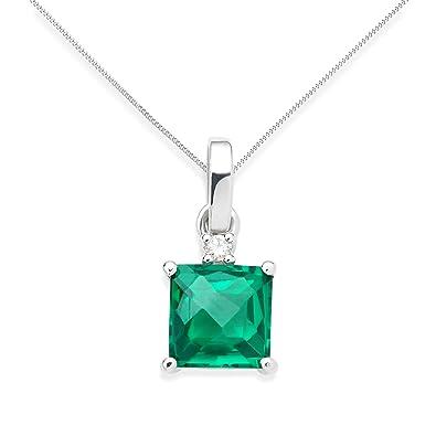 Miore women's 9ct White Gold Created Emerald Pendant 45cm 3yAkWE4