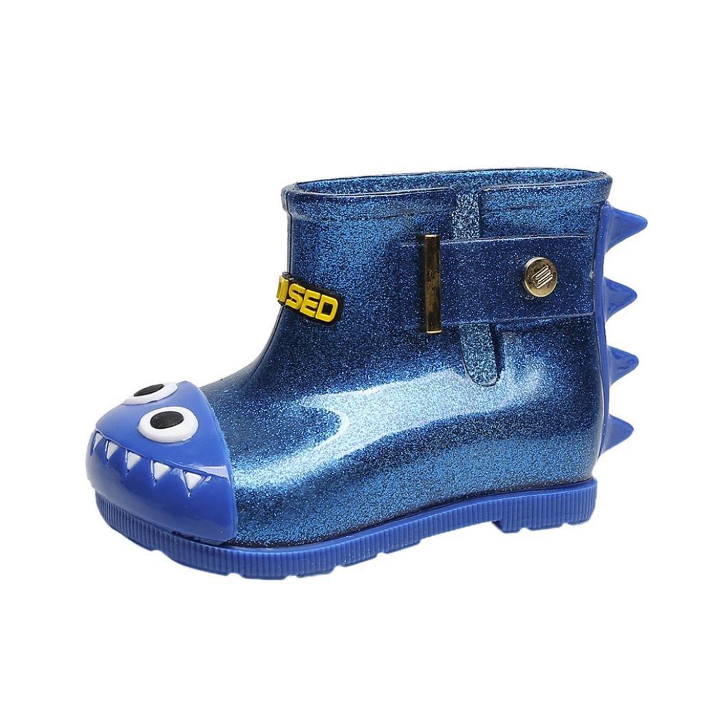 Dacawin Children Rain Shoes,Infant Baby Waterproof Dinosaur Cartoon Shark Rubber Rain Boots By (Blue, 5.5-6.5T)