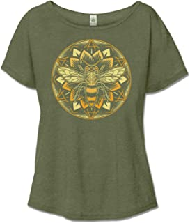 product image for Women's Organic Cotton Bee Mandala Recycled Off The Shoulder Top - Olive Green Ladies Short Sleeve Graphic Slouchy Tee