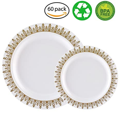 60PCS Heavyweight White with Gold Rim Wedding Party Plastic PlatesDinnerware Sets.30-  sc 1 st  Amazon.com & Amazon.com: 60PCS Heavyweight White with Gold Rim Wedding Party ...