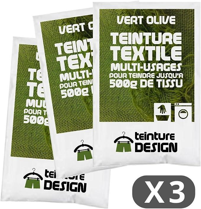 Set de 3 bolsas de tinte textil – Verde Oliva – Teintures universales para ropa y telas naturales