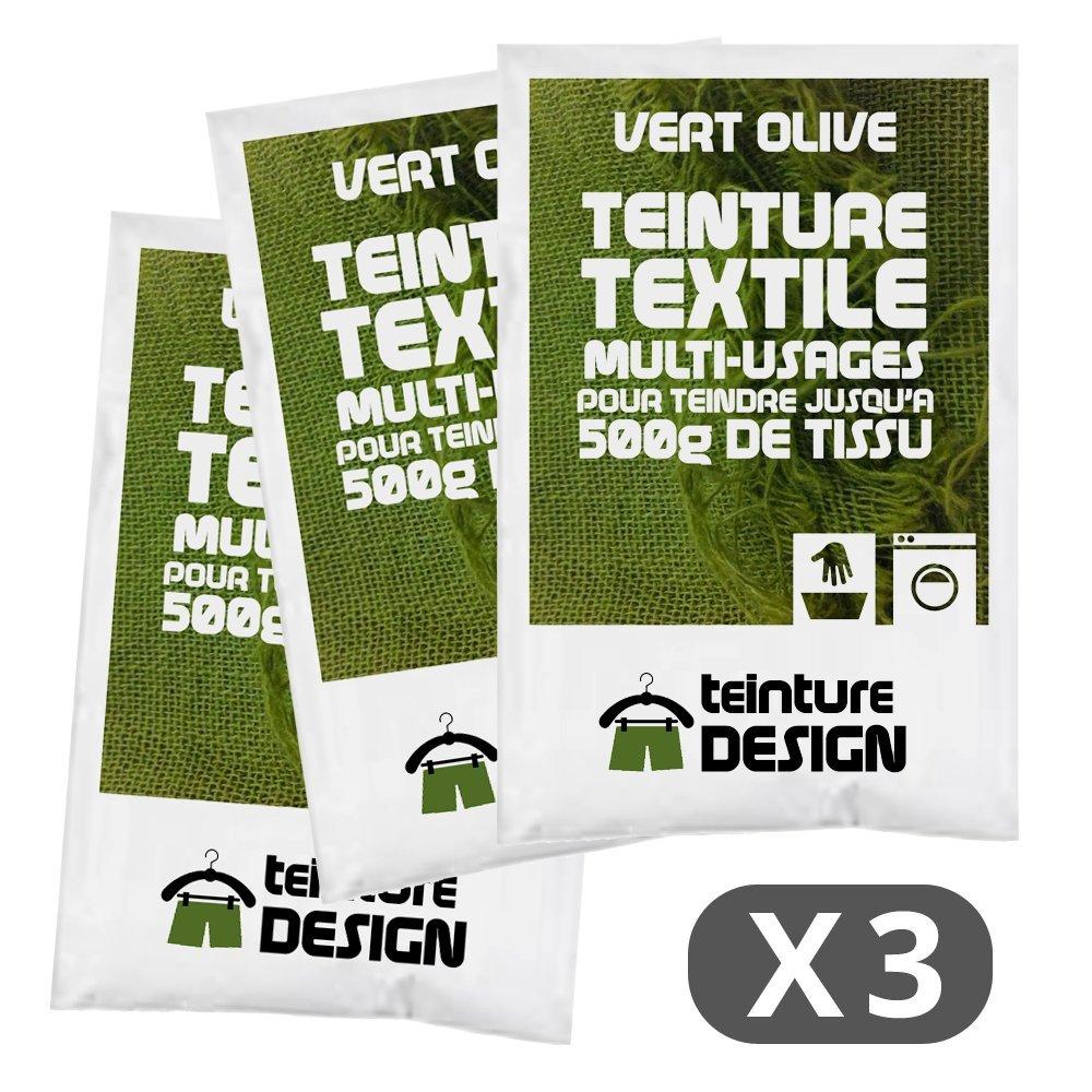 Set de 3 bolsas de tinte textil –  Verde Oliva –  Teintures universales para ropa y telas naturales Teinture Design