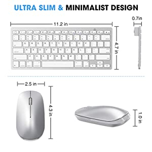 Wireless Keyboard and Mouse for iPad (iPadOS 13 and Above), SPARIN Bluetooth Keyboard Mouse Combo for iPad, Compatible with iPad 10.2 / iPad Pro/iPad Air/iPad Mini - Silver White (Color: Silver White)