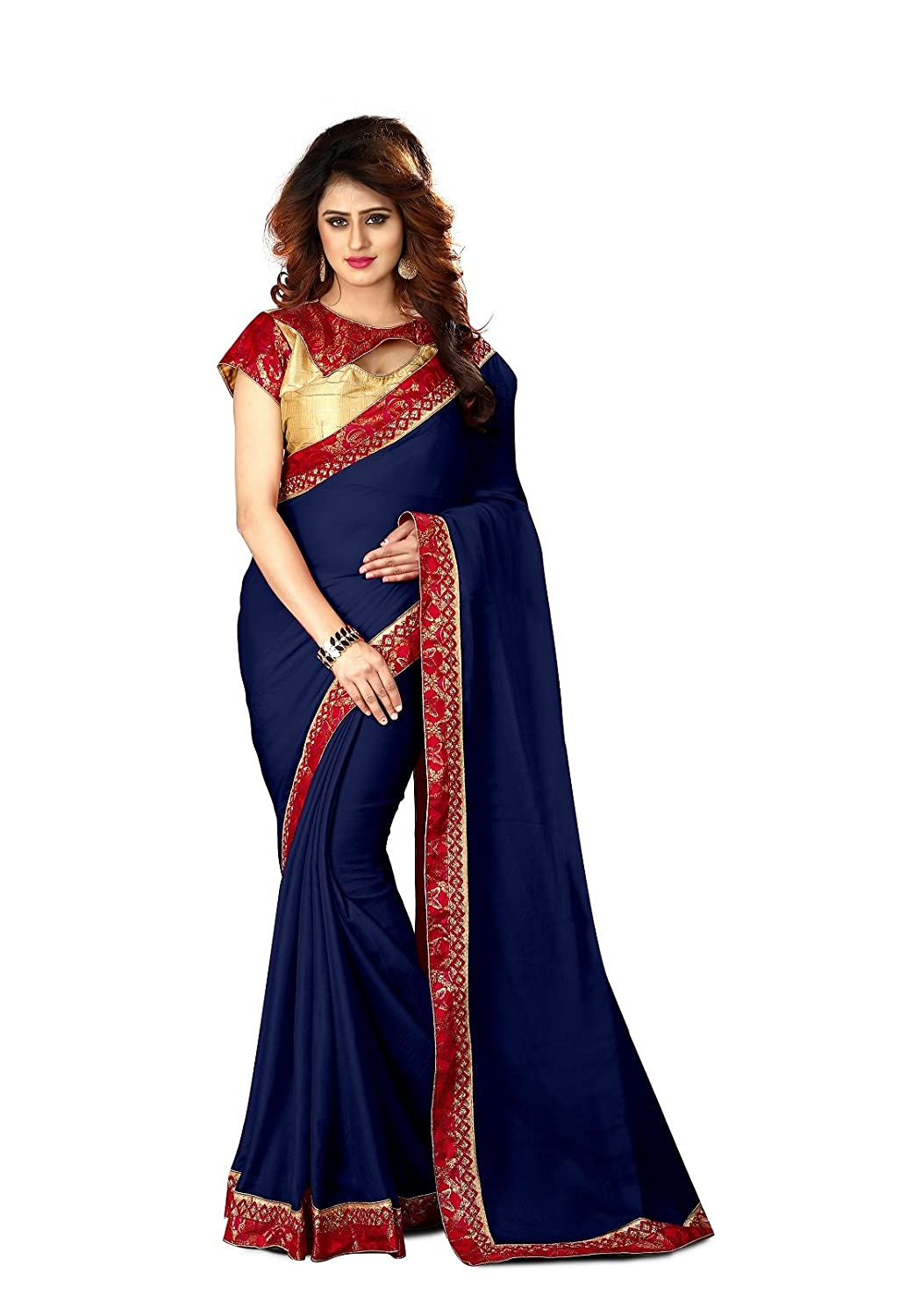 F4style Women's Designer Moss Chiffon Saree with Unstitched Blouse Piece